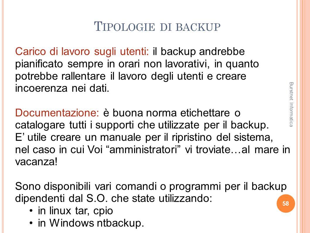 T IPOLOGIE DI BACKUP 58 Carico di lavoro sugli utenti: il backup andrebbe pianificato sempre in orari non lavorativi, in quanto potrebbe rallentare il