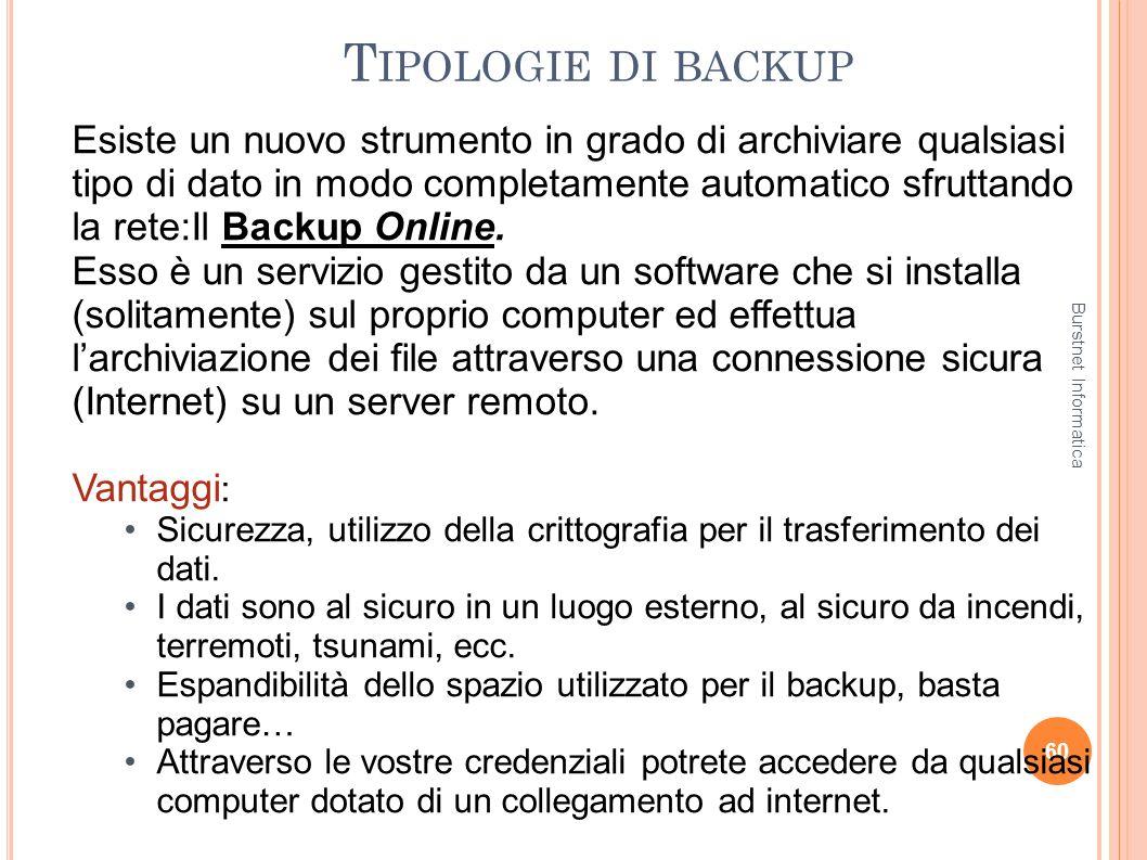 T IPOLOGIE DI BACKUP 60 Esiste un nuovo strumento in grado di archiviare qualsiasi tipo di dato in modo completamente automatico sfruttando la rete:Il