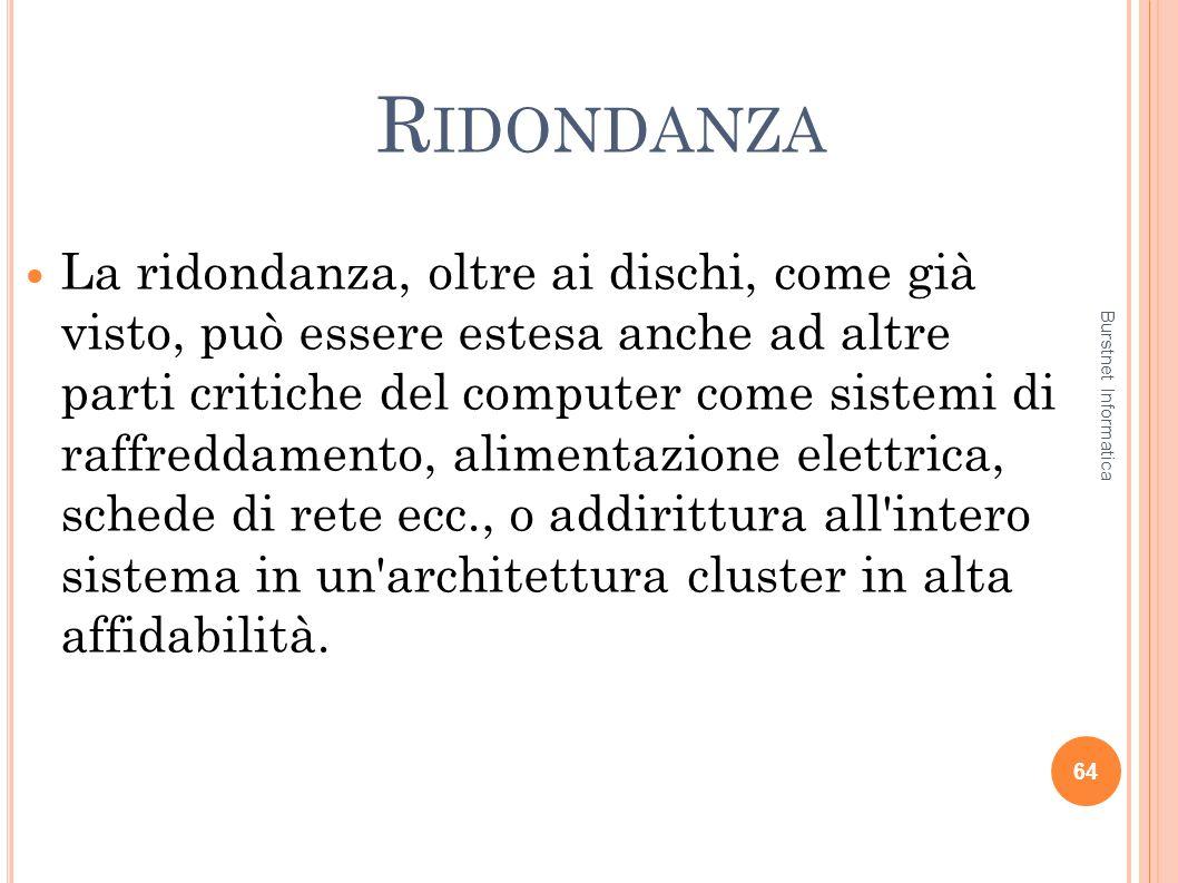 R IDONDANZA La ridondanza, oltre ai dischi, come già visto, può essere estesa anche ad altre parti critiche del computer come sistemi di raffreddament