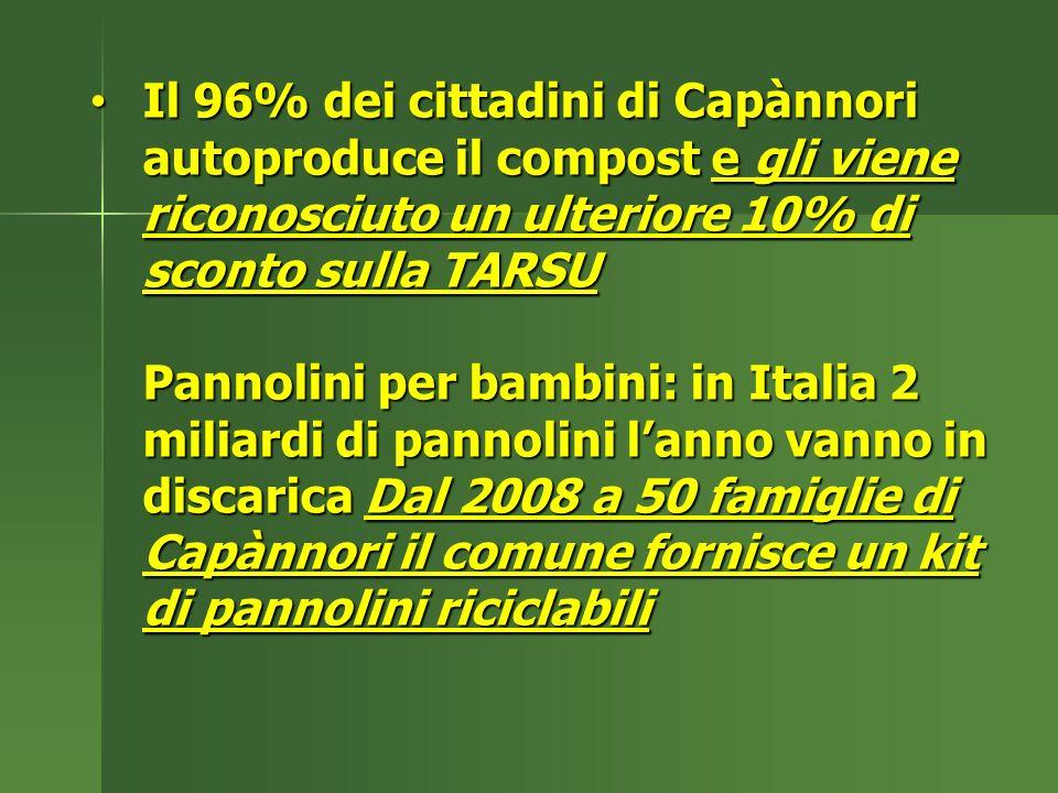 Il 96% dei cittadini di Capànnori autoproduce il compost e gli viene riconosciuto un ulteriore 10% di sconto sulla TARSU Pannolini per bambini: in Italia 2 miliardi di pannolini lanno vanno in discarica Dal 2008 a 50 famiglie di Capànnori il comune fornisce un kit di pannolini riciclabili Il 96% dei cittadini di Capànnori autoproduce il compost e gli viene riconosciuto un ulteriore 10% di sconto sulla TARSU Pannolini per bambini: in Italia 2 miliardi di pannolini lanno vanno in discarica Dal 2008 a 50 famiglie di Capànnori il comune fornisce un kit di pannolini riciclabili