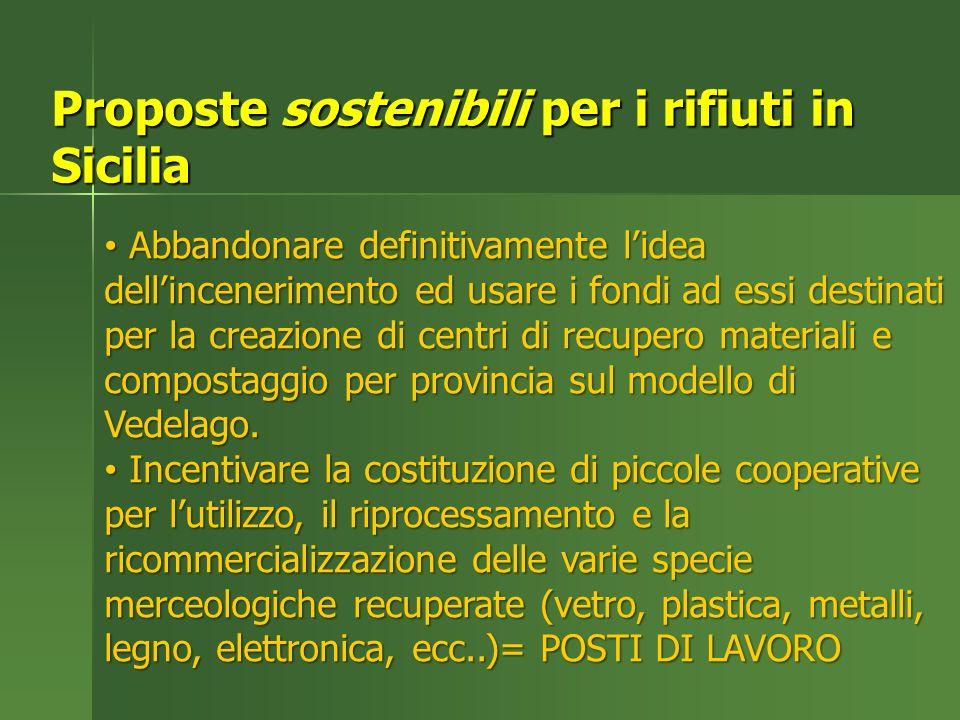 Proposte sostenibili per i rifiuti in Sicilia Abbandonare definitivamente lidea dellincenerimento ed usare i fondi ad essi destinati per la creazione di centri di recupero materiali e compostaggio per provincia sul modello di Vedelago.
