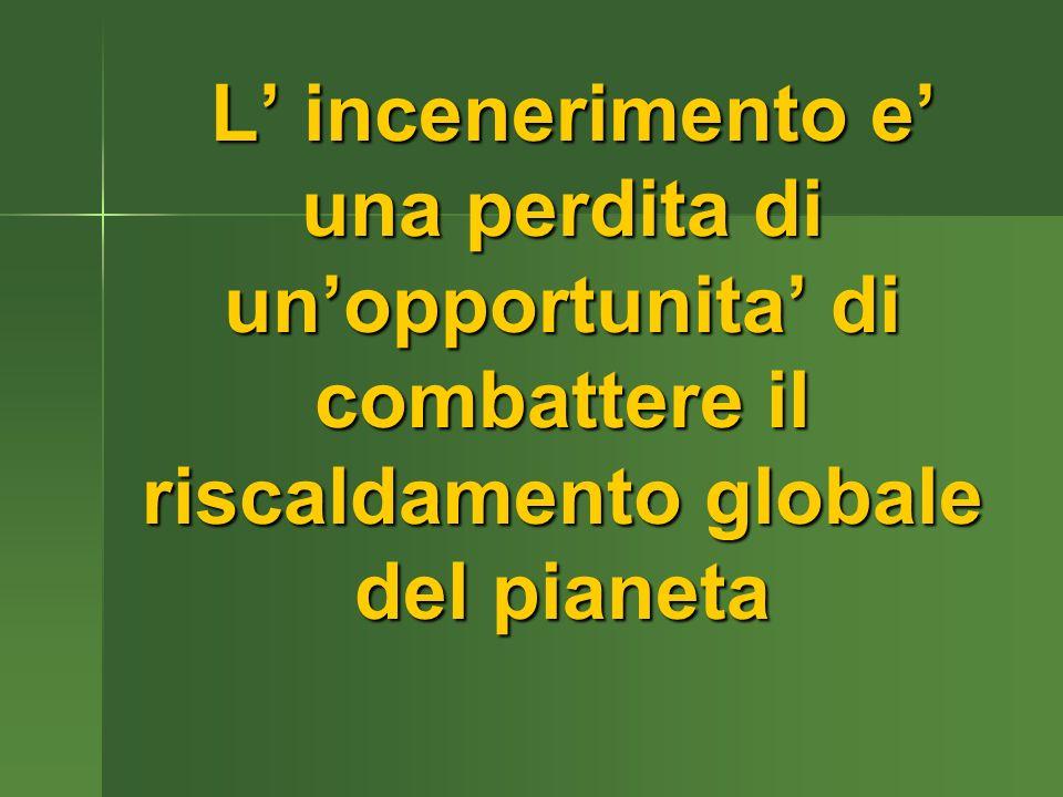 L incenerimento e una perdita di unopportunita di combattere il riscaldamento globale del pianeta L incenerimento e una perdita di unopportunita di combattere il riscaldamento globale del pianeta