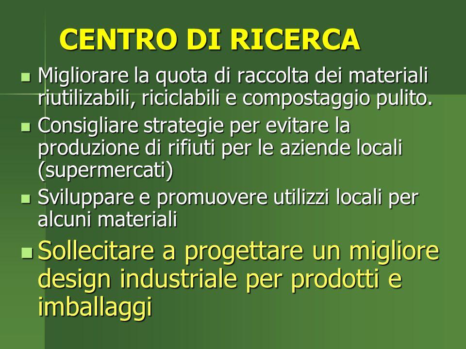 CENTRO DI RICERCA Migliorare la quota di raccolta dei materiali riutilizabili, riciclabili e compostaggio pulito.