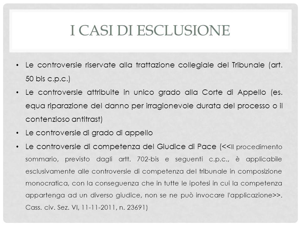 I CASI DI ESCLUSIONE Le controversie riservate alla trattazione collegiale del Tribunale (art. 50 bis c.p.c.) Le controversie attribuite in unico grad