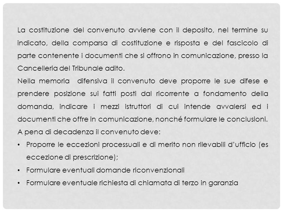 La costituzione del convenuto avviene con il deposito, nel termine su indicato, della comparsa di costituzione e risposta e del fascicolo di parte con