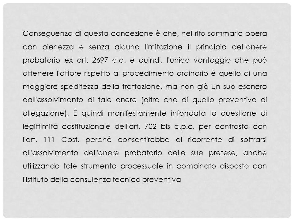 Conseguenza di questa concezione è che, nel rito sommario opera con pienezza e senza alcuna limitazione il principio dell'onere probatorio ex art. 269