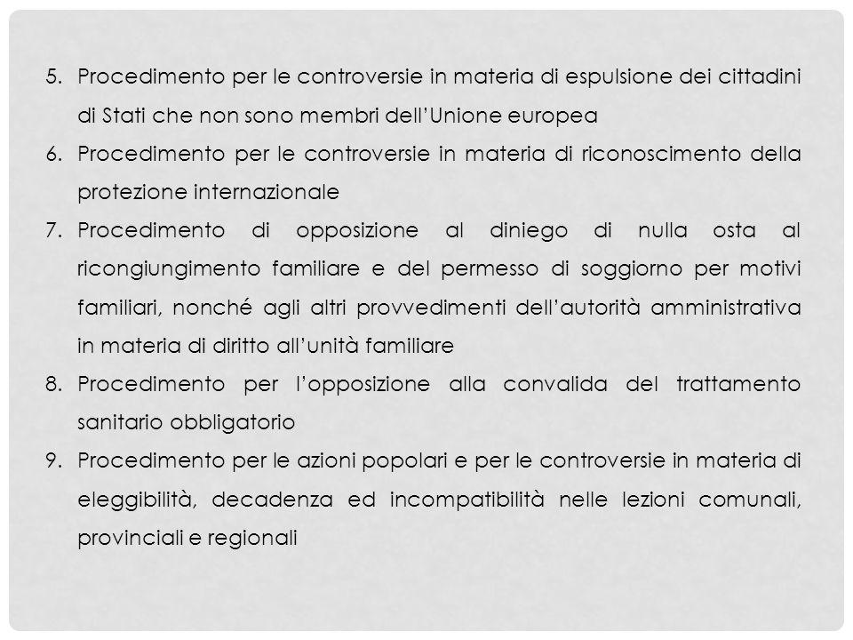 5.Procedimento per le controversie in materia di espulsione dei cittadini di Stati che non sono membri dellUnione europea 6.Procedimento per le contro