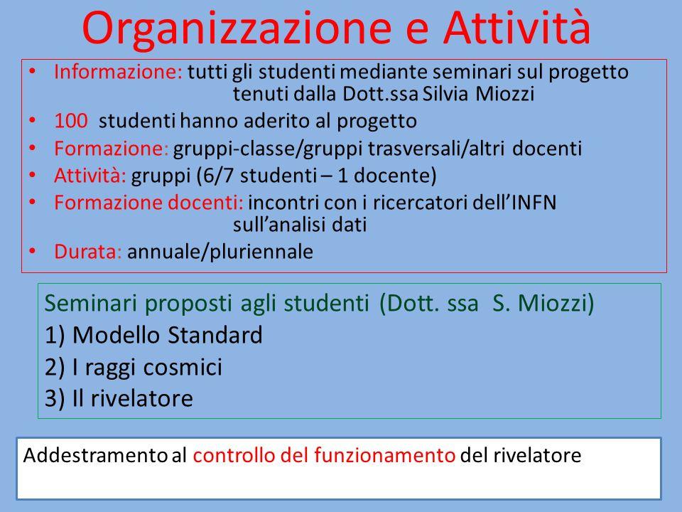 Organizzazione e Attività Informazione: tutti gli studenti mediante seminari sul progetto tenuti dalla Dott.ssa Silvia Miozzi 100 studenti hanno aderi