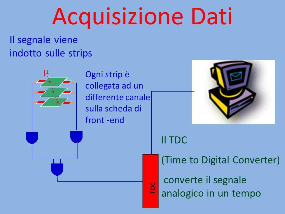 Acquisizione Dati TDC Ogni strip è collegata ad un differente canale sulla scheda di front -end Il TDC (Time to Digital Converter) converte il segnale