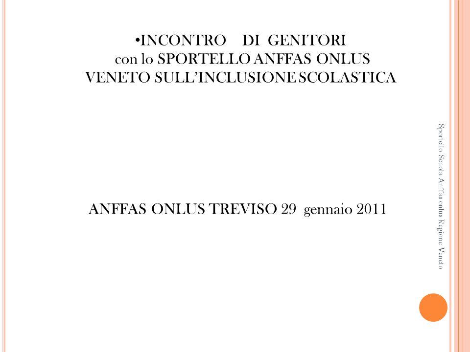 Sportello Scuola Anffas onlus Regione Veneto INCONTRO DI GENITORI con lo SPORTELLO ANFFAS ONLUS VENETO SULLINCLUSIONE SCOLASTICA ANFFAS ONLUS TREVISO 29 gennaio 2011