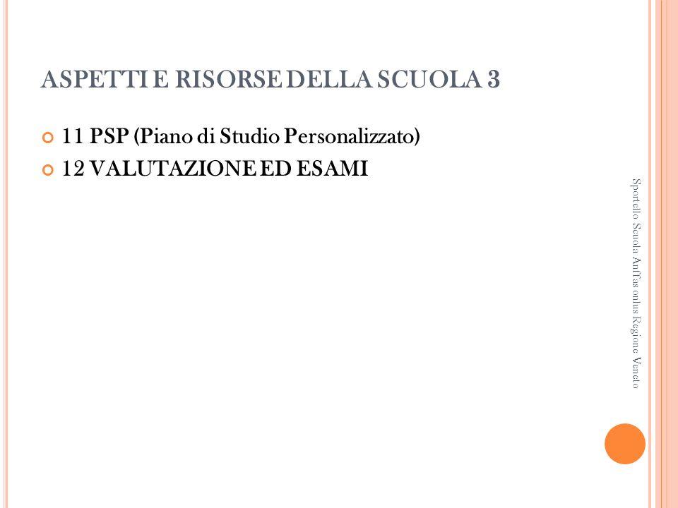 ASPETTI E RISORSE DELLA SCUOLA 3 11 PSP (Piano di Studio Personalizzato) 12 VALUTAZIONE ED ESAMI Sportello Scuola Anffas onlus Regione Veneto