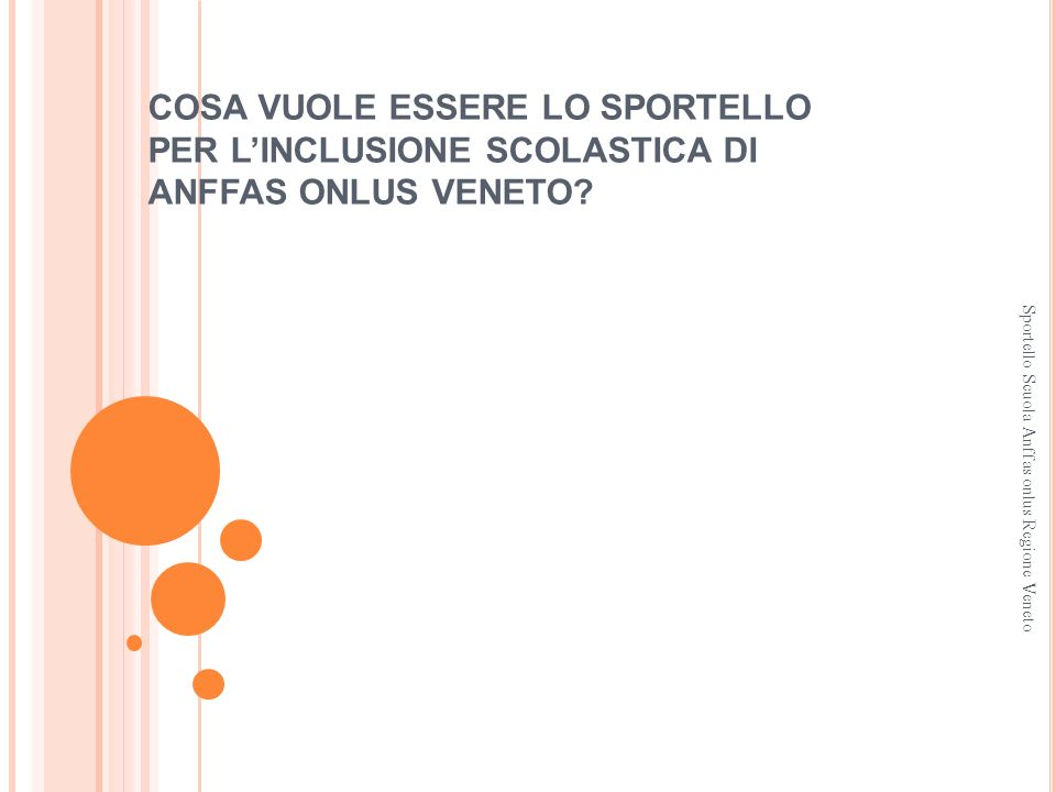 COSA VUOLE ESSERE LO SPORTELLO PER LINCLUSIONE SCOLASTICA DI ANFFAS ONLUS VENETO? Sportello Scuola Anffas onlus Regione Veneto