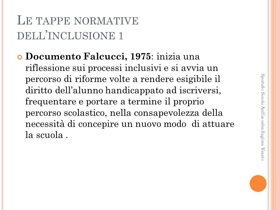 L E TAPPE NORMATIVE DELL INCLUSIONE 1 Documento Falcucci, 1975 : inizia una riflessione sui processi inclusivi e si avvia un percorso di riforme volte