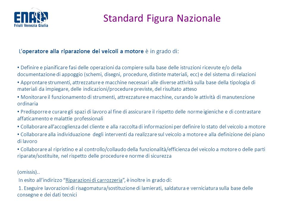 Standard Figura Nazionale Loperatore alla riparazione dei veicoli a motore è in grado di: Definire e pianificare fasi delle operazioni da compiere sul