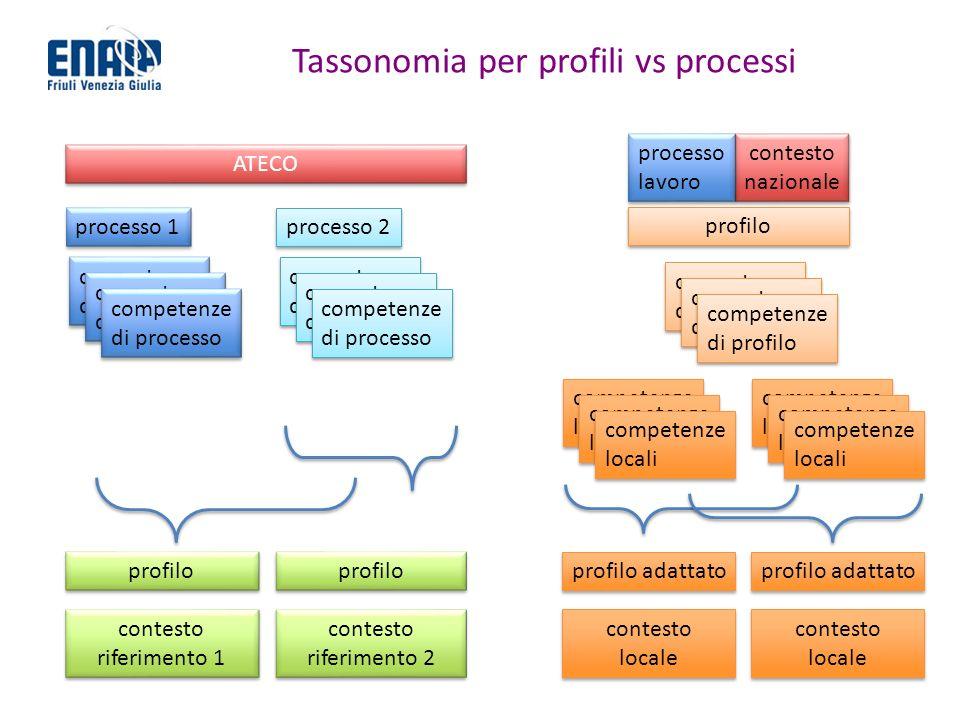 Tassonomia per profili vs processi processo 1 competenze di processo competenze di processo profilo contesto riferimento 1 contesto riferimento 1 prof
