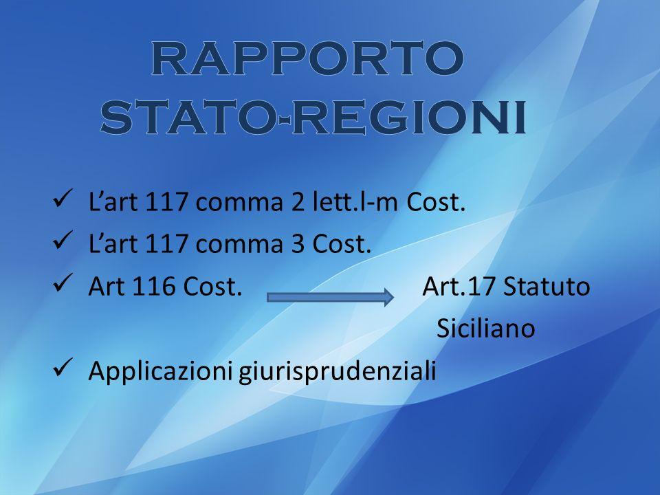 Lart 117 comma 2 lett.l-m Cost.Lart 117 comma 3 Cost.