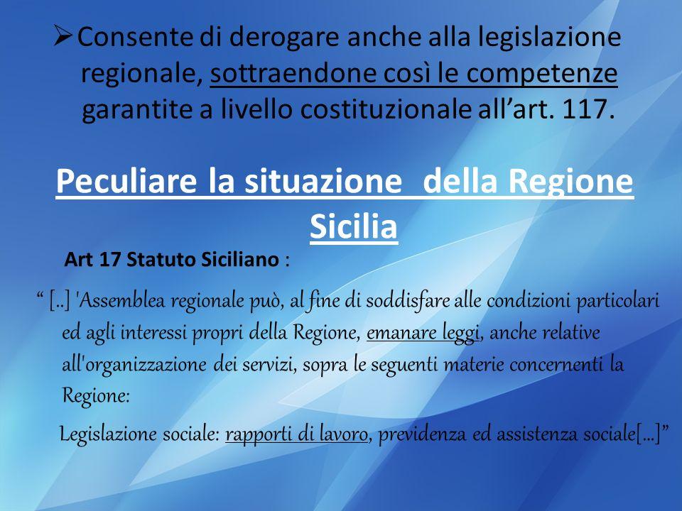 Consente di derogare anche alla legislazione regionale, sottraendone così le competenze garantite a livello costituzionale allart.