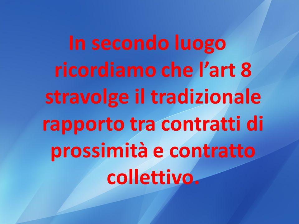 In secondo luogo ricordiamo che lart 8 stravolge il tradizionale rapporto tra contratti di prossimità e contratto collettivo.
