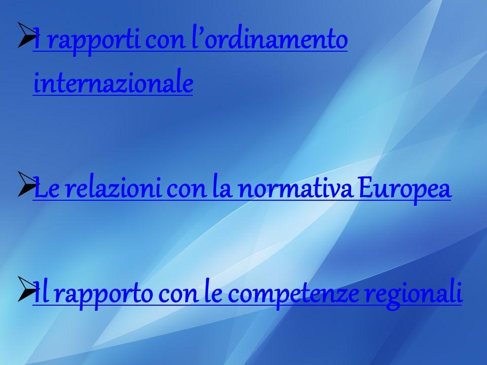 I rapporti con lordinamento internazionale I rapporti con lordinamento internazionale Le relazioni con la normativa Europea Il rapporto con le competenze regionali