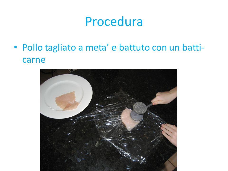 Procedura Pollo tagliato a meta e battuto con un batti- carne