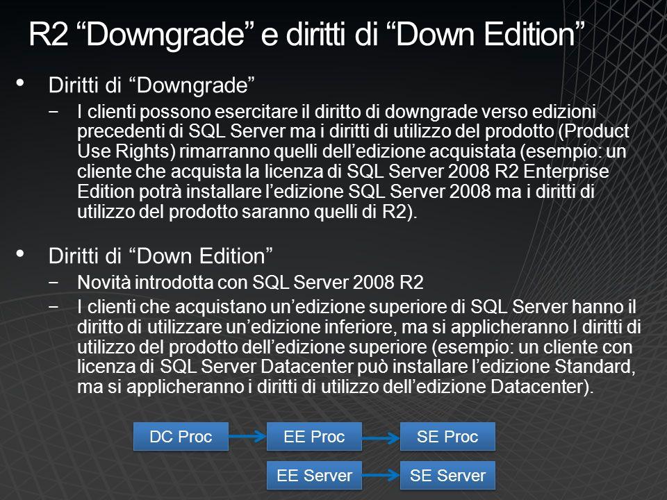 R2 Downgrade e diritti di Down Edition Diritti di Downgrade I clienti possono esercitare il diritto di downgrade verso edizioni precedenti di SQL Serv