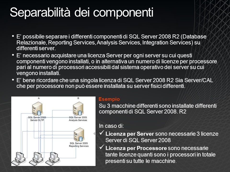 Separabilità dei componenti E possibile separare i differenti componenti di SQL Server 2008 R2 (Database Relazionale, Reporting Services, Analysis Ser