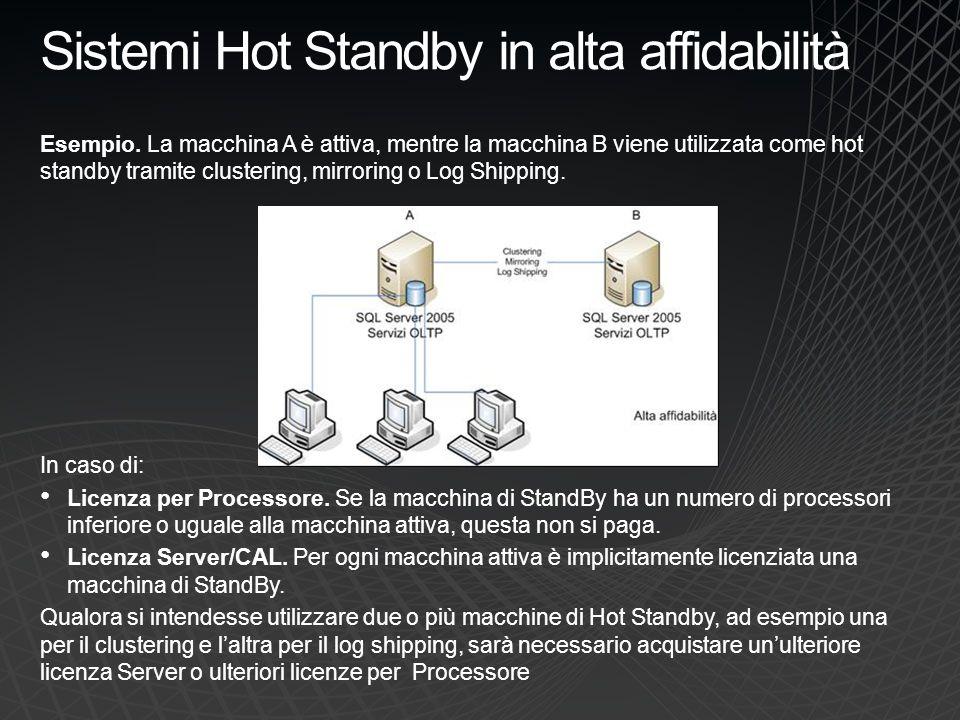 Sistemi Hot Standby in alta affidabilità Esempio. La macchina A è attiva, mentre la macchina B viene utilizzata come hot standby tramite clustering, m