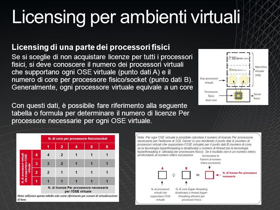 Licensing per ambienti virtuali Licensing di una parte dei processori fisici Se si sceglie di non acquistare licenze per tutti i processori fisici, si