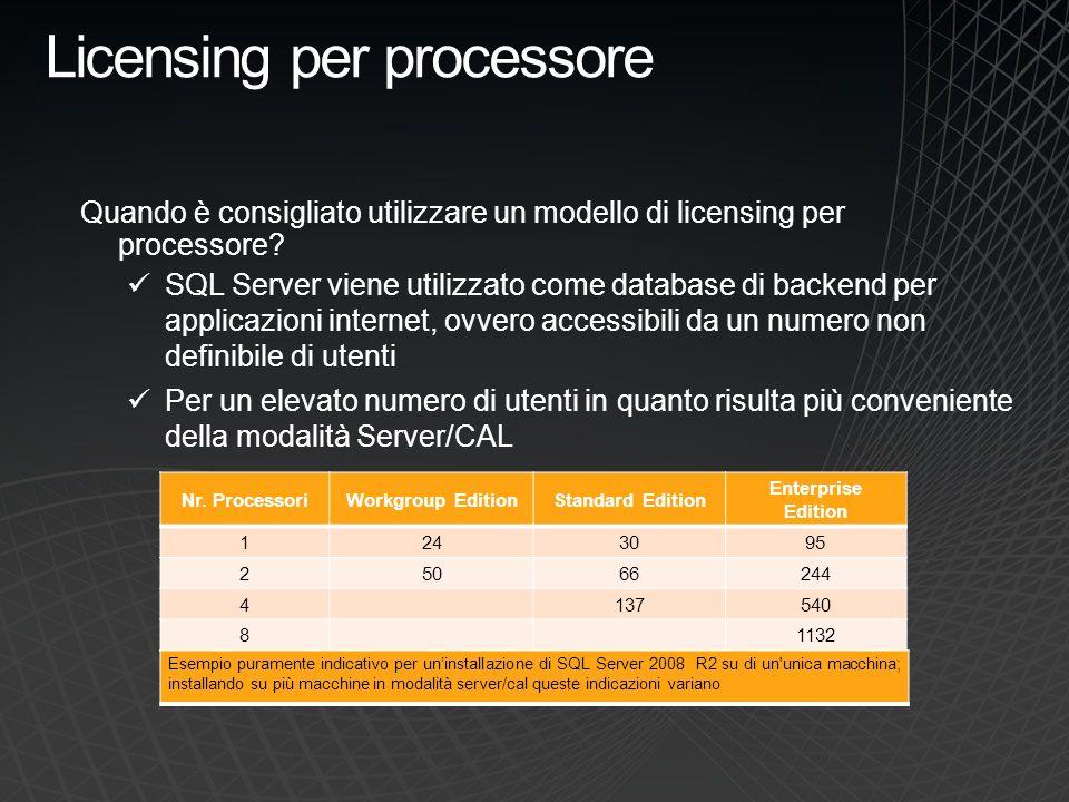 Per processore Server monoprocessore 1 Licenza SQL Server per processore Numero indefinito di utenti