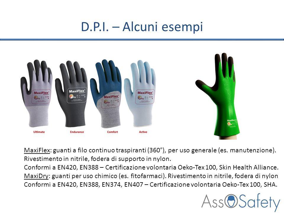 D.P.I. – Alcuni esempi MaxiFlex: guanti a filo continuo traspiranti (360°), per uso generale (es. manutenzione). Rivestimento in nitrile, fodera di su