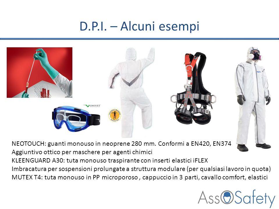 D.P.I. – Alcuni esempi NEOTOUCH: guanti monouso in neoprene 280 mm. Conformi a EN420, EN374 Aggiuntivo ottico per maschere per agenti chimici KLEENGUA