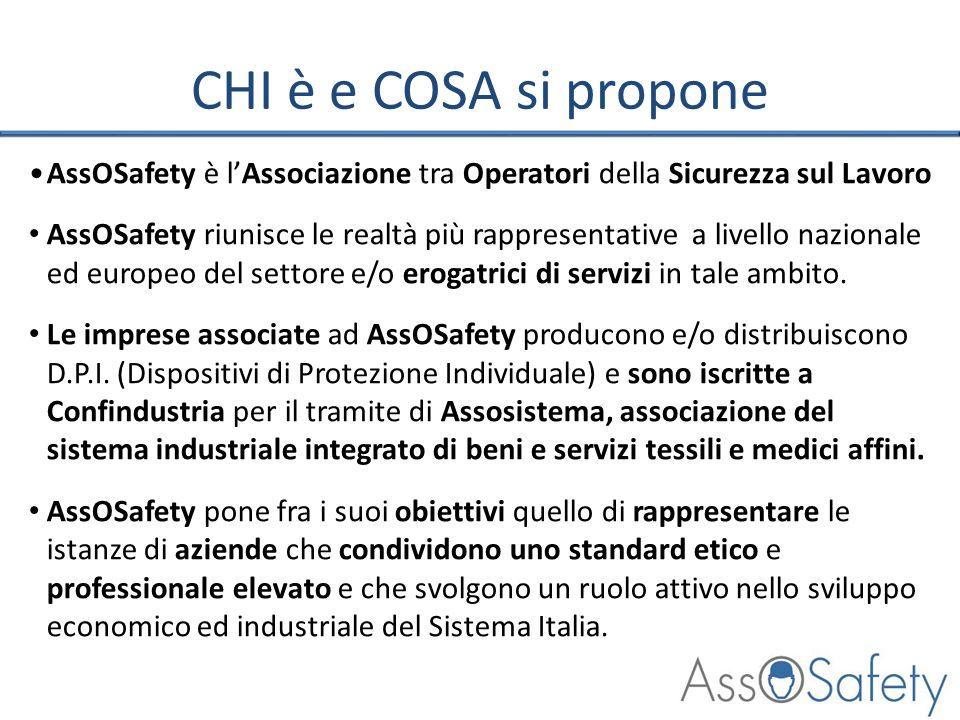 CHI è e COSA si propone AssOSafety è lAssociazione tra Operatori della Sicurezza sul Lavoro AssOSafety riunisce le realtà più rappresentative a livell