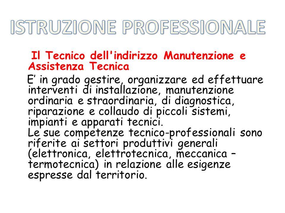 Il Tecnico dell'indirizzo Manutenzione e Assistenza Tecnica E in grado gestire, organizzare ed effettuare interventi di installazione, manutenzione or