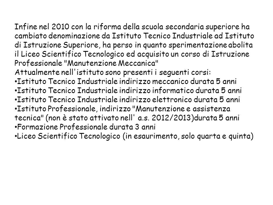 Infine nel 2010 con la riforma della scuola secondaria superiore ha cambiato denominazione da Istituto Tecnico Industriale ad Istituto di Istruzione S