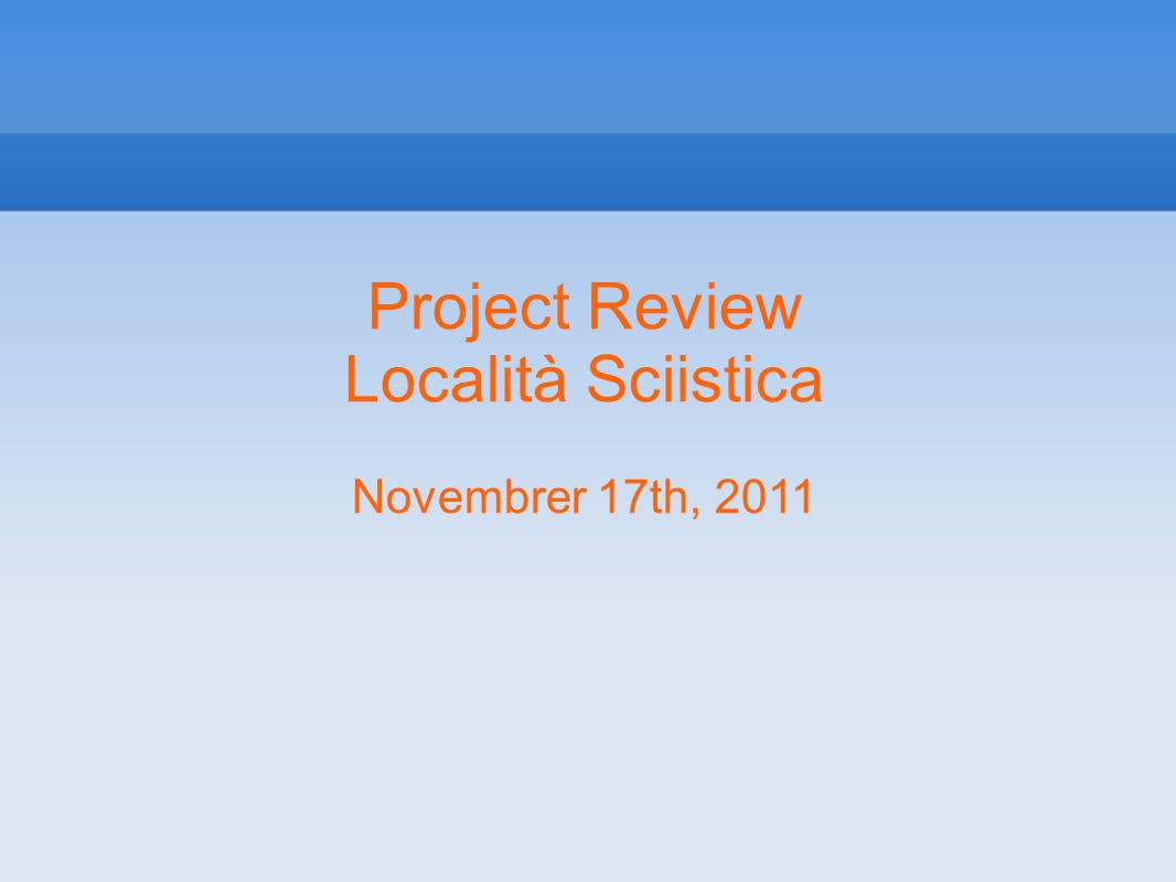 Project Review Agenda: o Project goals o User stories – use cases – scenarios o Project plan summary o Status as of November 17th 2011 Analysis and Design Spikes UI and user interaction draft (on paper or...)