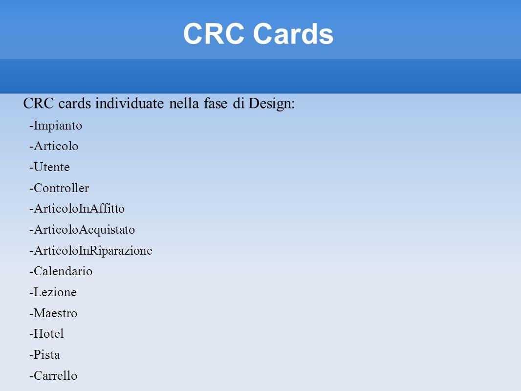 CRC Cards CRC cards individuate nella fase di Design: -Impianto -Articolo -Utente -Controller -ArticoloInAffitto -ArticoloAcquistato -ArticoloInRipara