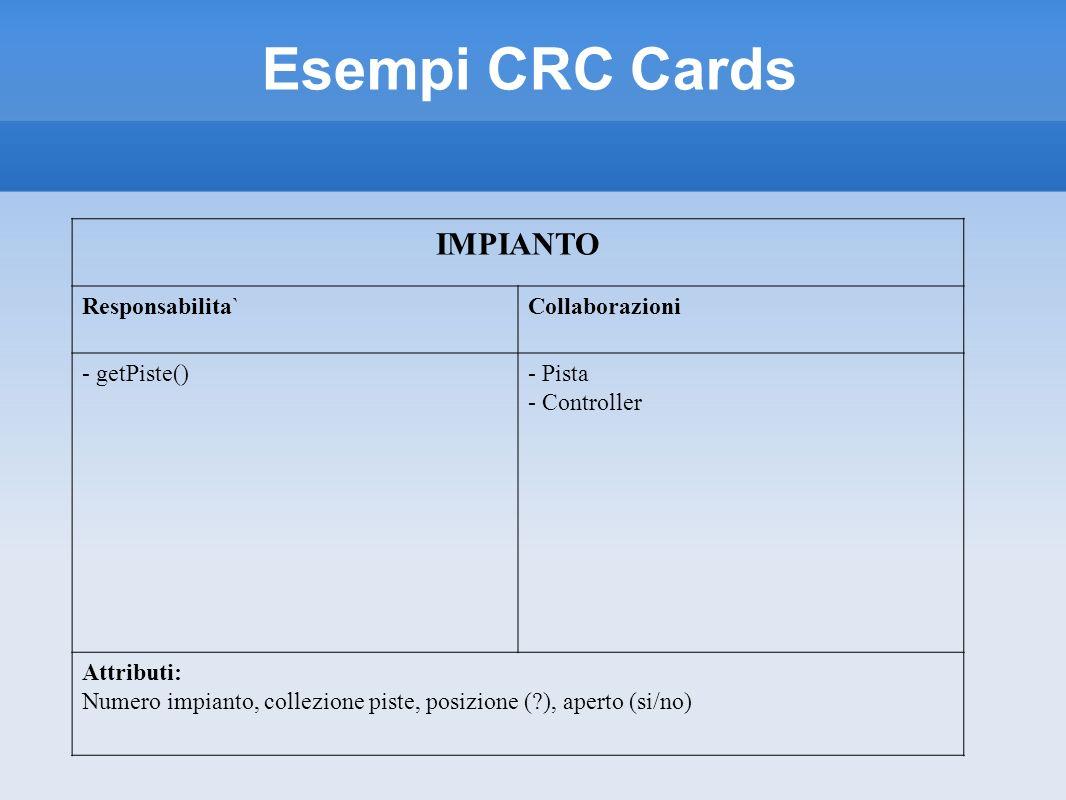 Esempi CRC Cards IMPIANTO Responsabilita`Collaborazioni - getPiste()- Pista - Controller Attributi: Numero impianto, collezione piste, posizione (?),