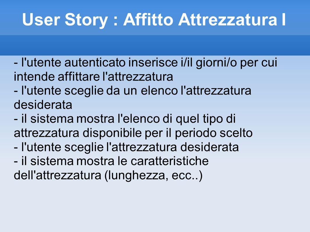 User Story : Affitto Attrezzatura II - l utente sceglie tali caratteristiche ed invia la prenotazione - il sistema chiede conferma della prenotazione - l utente conferma la prenotazione ed effettua il pagamento della caparra - User Story Pagamento - il sistema registra il pagamento ed invia la mail di conferma