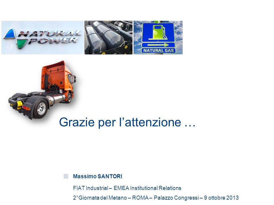 Grazie per lattenzione … Massimo SANTORI FIAT Industrial – EMEA Institutional Relations 2°Giornata del Metano – ROMA – Palazzo Congressi – 9 ottobre 2013