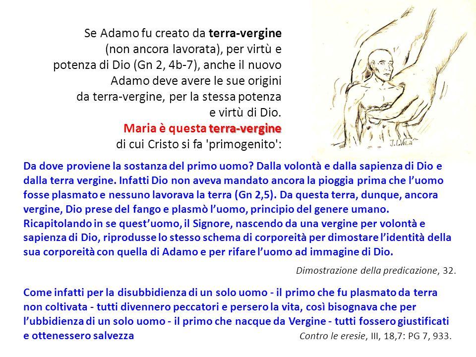 Se Adamo fu creato da terra-vergine (non ancora lavorata), per virtù e potenza di Dio (Gn 2, 4b-7), anche il nuovo Adamo deve avere le sue origini da terra-vergine, per la stessa potenza e virtù di Dio.