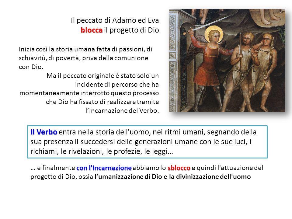 Il peccato di Adamo ed Eva blocca blocca il progetto di Dio Inizia così la storia umana fatta di passioni, di schiavitù, di povertà, priva della comunione con Dio.