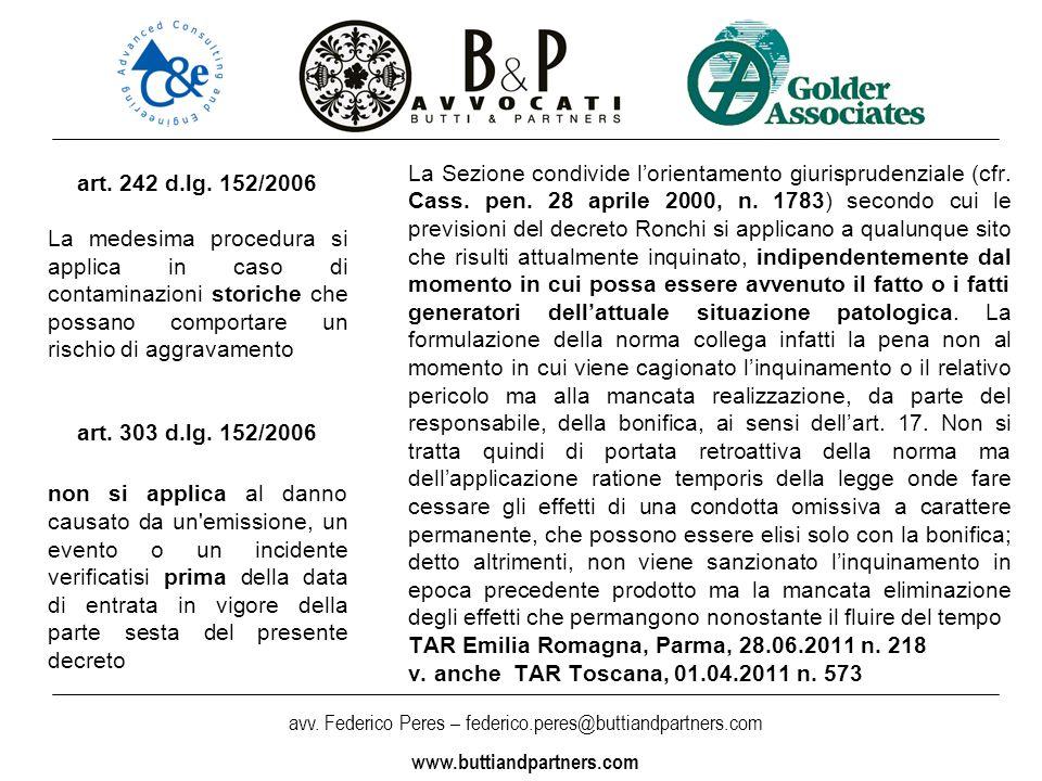 avv. Federico Peres – federico.peres@buttiandpartners.com www.buttiandpartners.com La Sezione condivide lorientamento giurisprudenziale (cfr. Cass. pe
