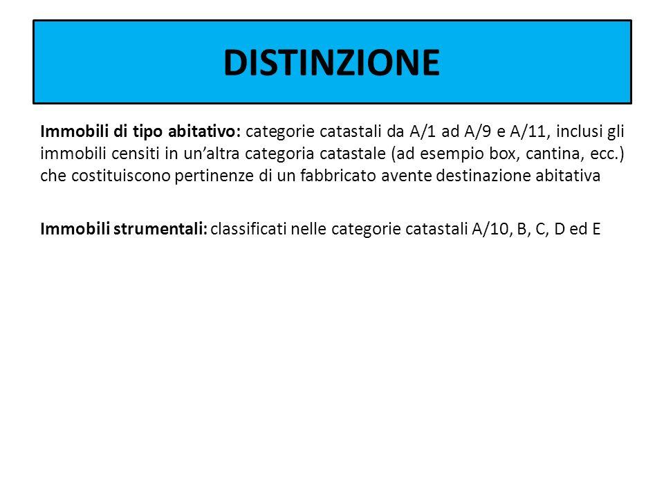 DISTINZIONE Immobili di tipo abitativo: categorie catastali da A/1 ad A/9 e A/11, inclusi gli immobili censiti in unaltra categoria catastale (ad esem