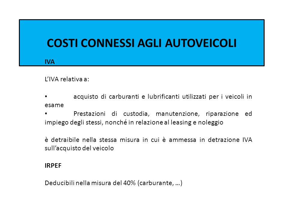 COSTI CONNESSI AGLI AUTOVEICOLI IVA LIVA relativa a: acquisto di carburanti e lubrificanti utilizzati per i veicoli in esame Prestazioni di custodia,