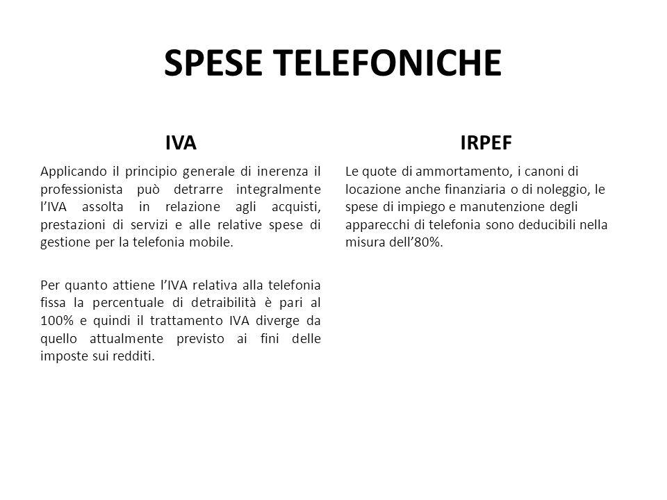 SPESE TELEFONICHE IVA Applicando il principio generale di inerenza il professionista può detrarre integralmente lIVA assolta in relazione agli acquist