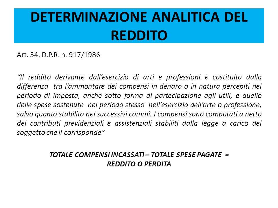 DETERMINAZIONE ANALITICA DEL REDDITO Art. 54, D.P.R. n. 917/1986 Il reddito derivante dallesercizio di arti e professioni è costituito dalla differenz