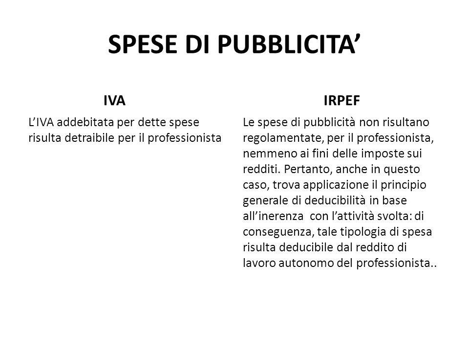 SPESE DI PUBBLICITA IVA LIVA addebitata per dette spese risulta detraibile per il professionista IRPEF Le spese di pubblicità non risultano regolament