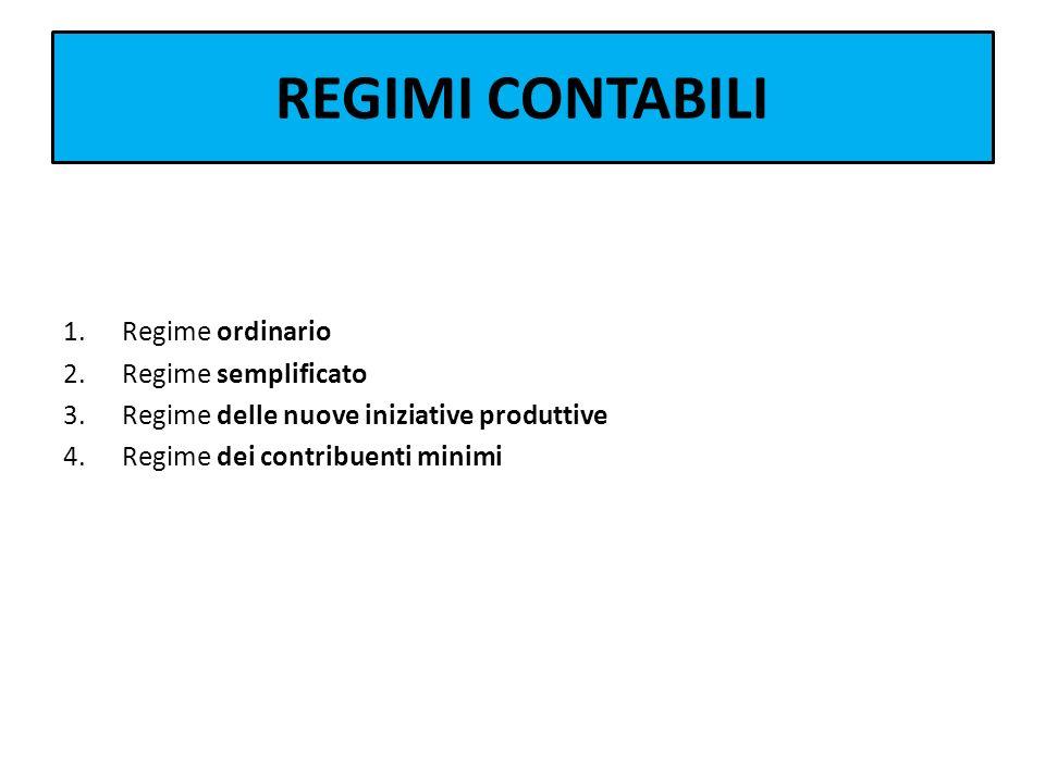 REGIMI CONTABILI 1.Regime ordinario 2.Regime semplificato 3.Regime delle nuove iniziative produttive 4.Regime dei contribuenti minimi