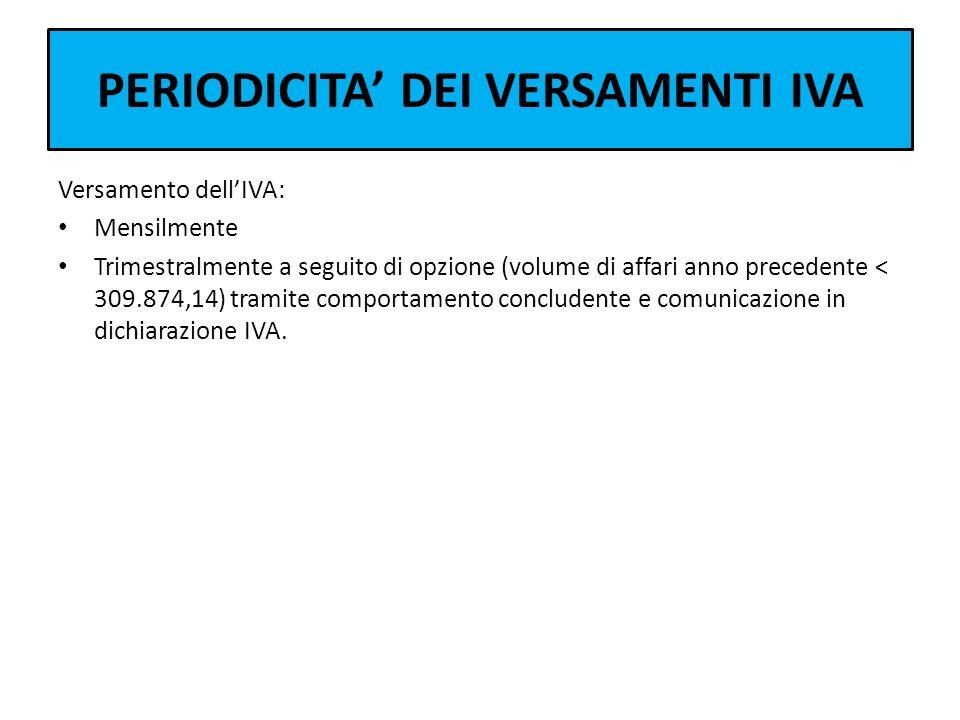 PERIODICITA DEI VERSAMENTI IVA Versamento dellIVA: Mensilmente Trimestralmente a seguito di opzione (volume di affari anno precedente < 309.874,14) tr