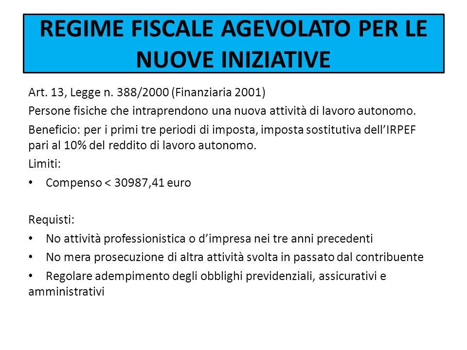 REGIME FISCALE AGEVOLATO PER LE NUOVE INIZIATIVE Art. 13, Legge n. 388/2000 (Finanziaria 2001) Persone fisiche che intraprendono una nuova attività di